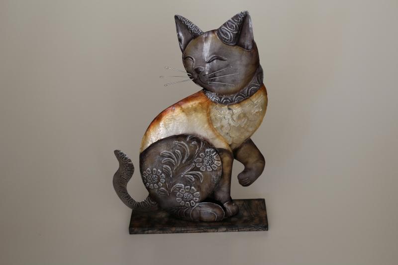 Katze sitzend aus Metall