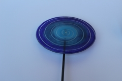Lolli in blau, Fusingglas mit Metallstab 8mm