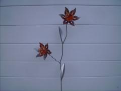 Doppelblume in orange, Metall pulverisiert, ca. 150 cm,  wetterbeständig