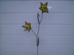 Doppelblume in gelb - Metall pulverisiert, ca. 150 cm, wetterbeständig